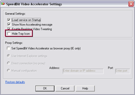 SPEEDbit Video Accelerator Settings screen - Hide Tray Icon