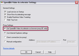 SPEEDbit Video Accelerator Settings screen - Proxy settings
